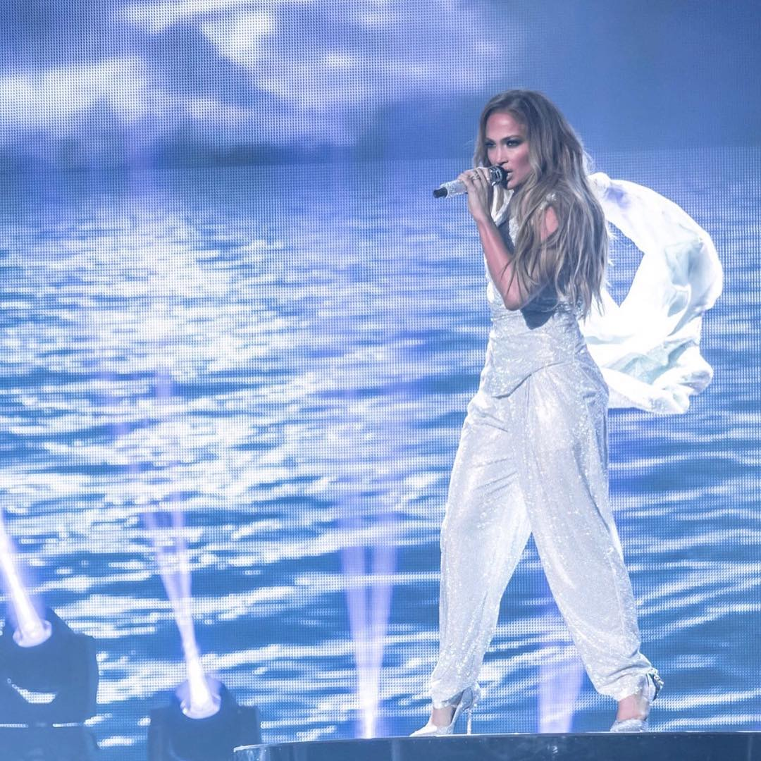 Jennifer Lopez Wearing Sequined Silver Suit 2020