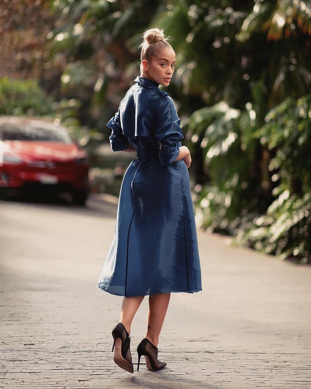 Jasmine Sanders Wearing Rich Blue Belted Coatdress 2019
