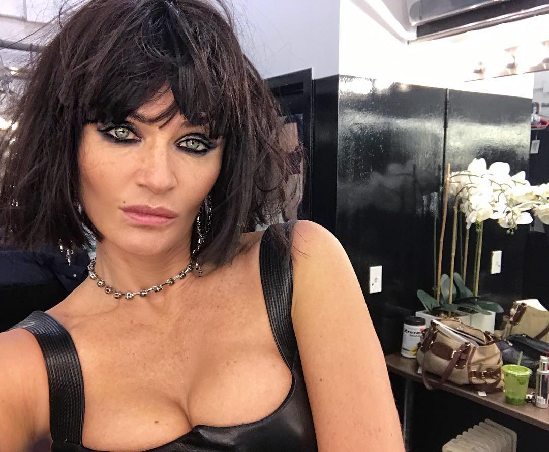 Helena Christensen With A Messy Bob Hairstyle And Bright Eyeliner Makeup 2019