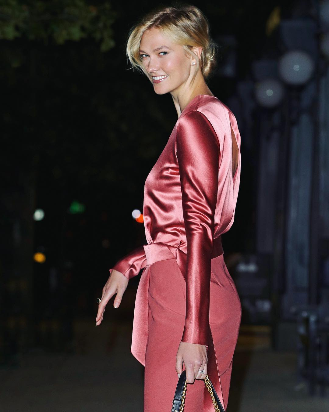DION LEE Sherbet Pink Long Sleeve Dress On Karlie Kloss 2019