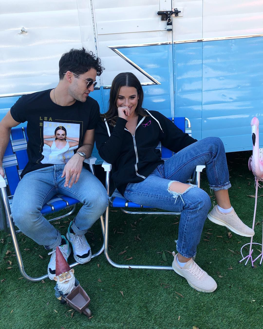 Lea Michele Wearing Track Jacket With Ripped Jeans And Pastel Sneakers 2020