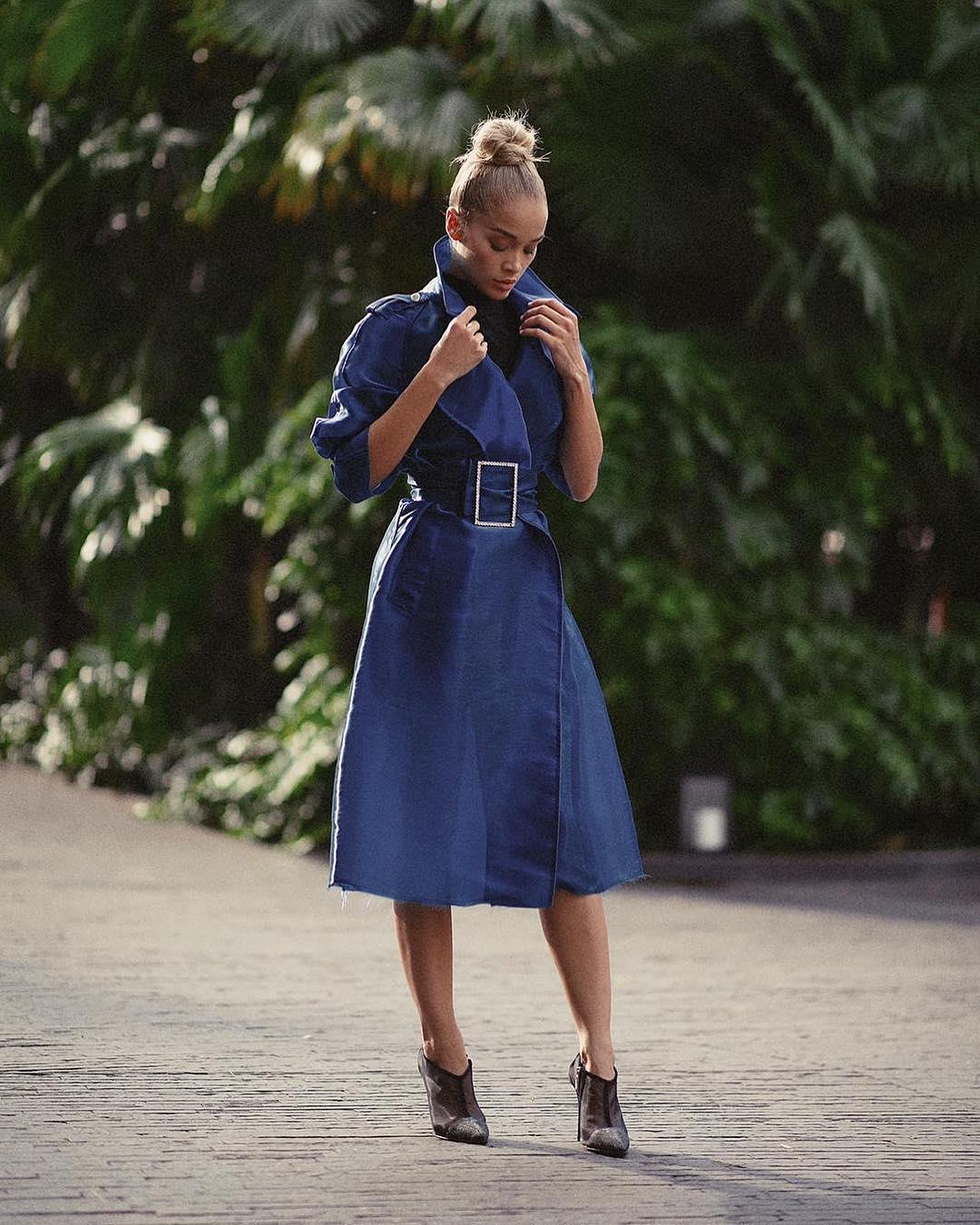Belted Coatdress In Rich Blue Color On Jasmine Sanders 2020