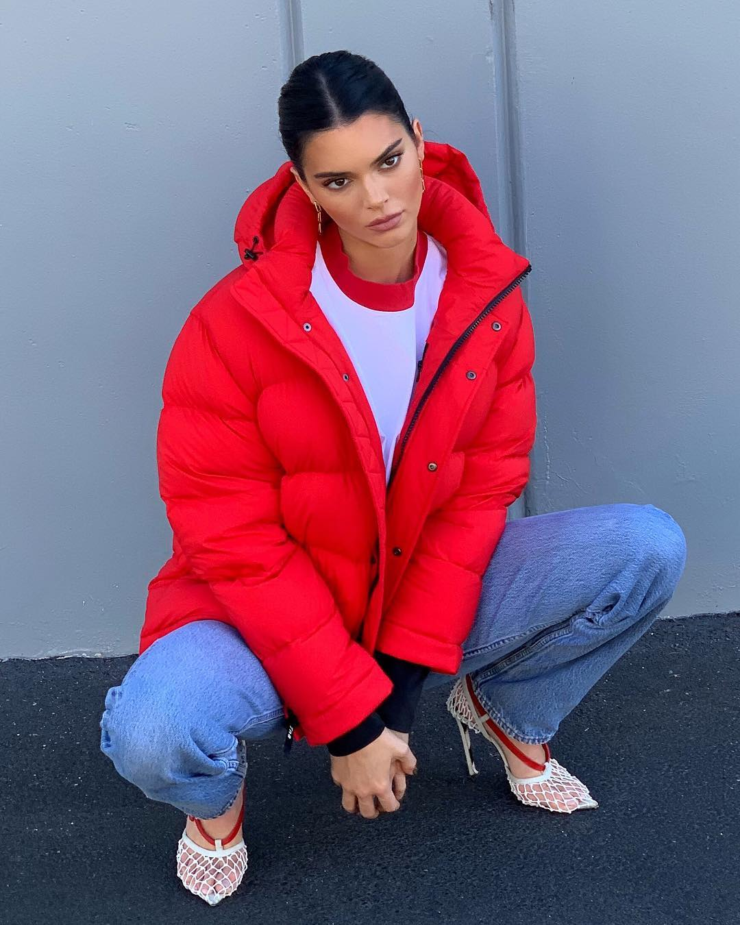 Kendall Jenner In A Red Hooded Down Jacket 2019