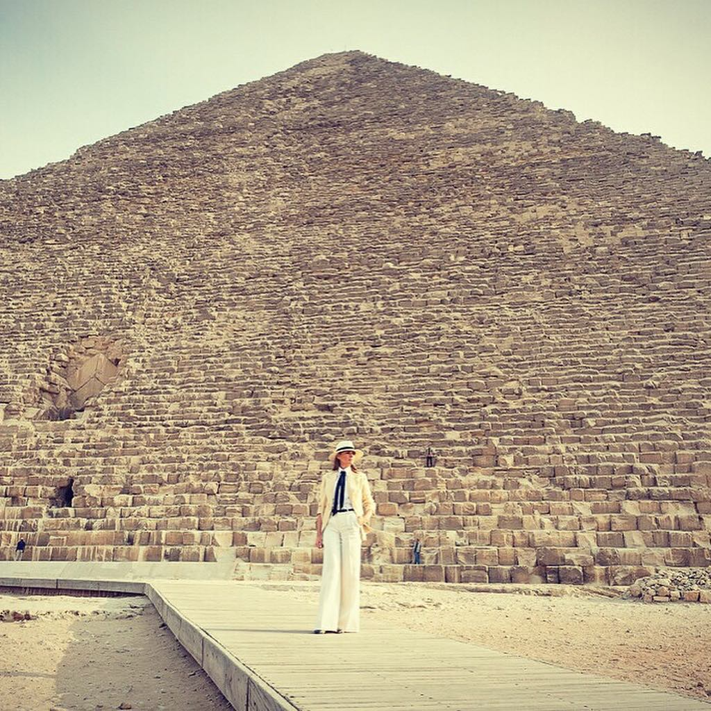 White Powersuit On First Lady Melania Trump Visiting Egypt 2019