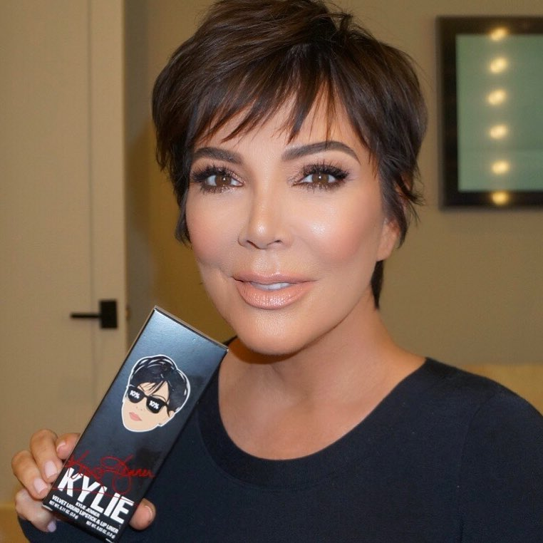 Kris Jenner With Layered Pixie Promotes Her Lip Kit By Kylie Cosmetics 2019