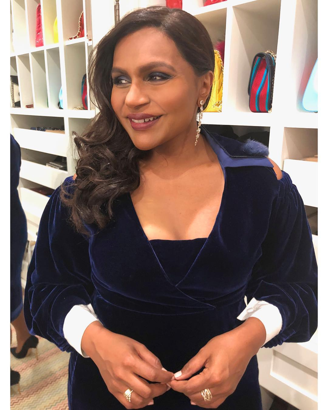 Mindy Kaling Wearing Blue Velour Dress By Fendi 2019