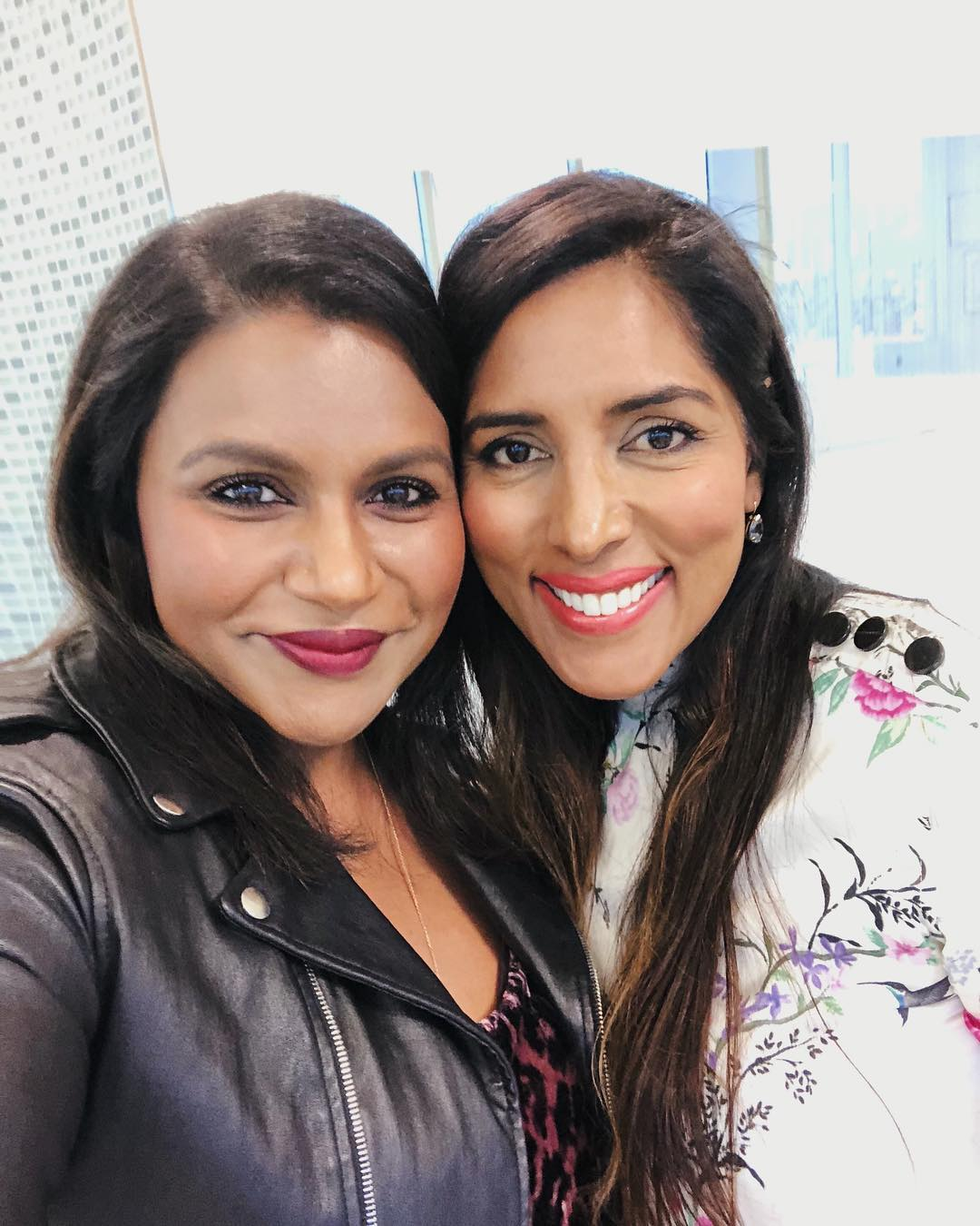 Mindy Kaling Wearing Black Leather Jacket And Leopard Print Top 2019