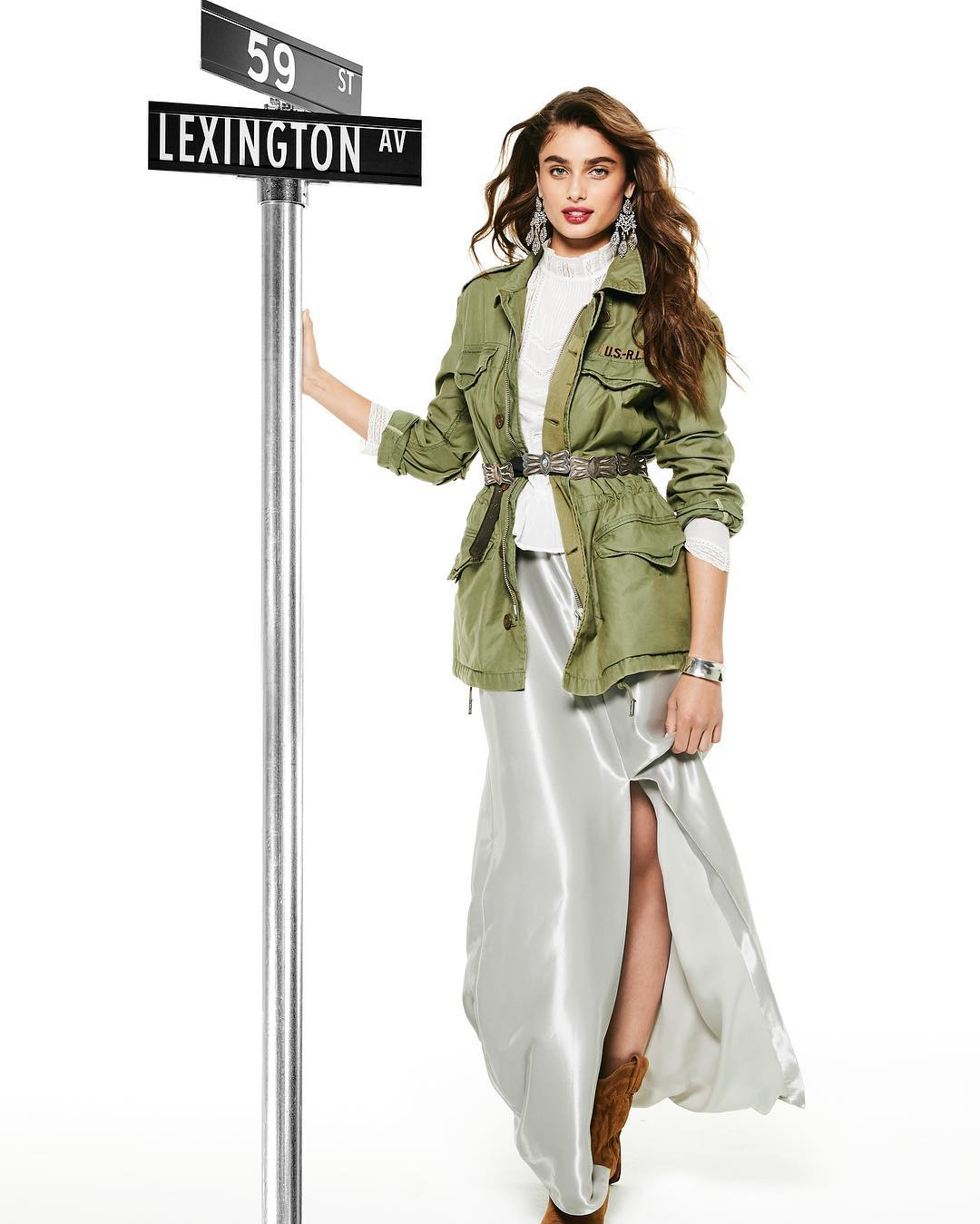 Taylor Hill Wearing Khaki Army Jacket For Bloomingdales Campaign 2020