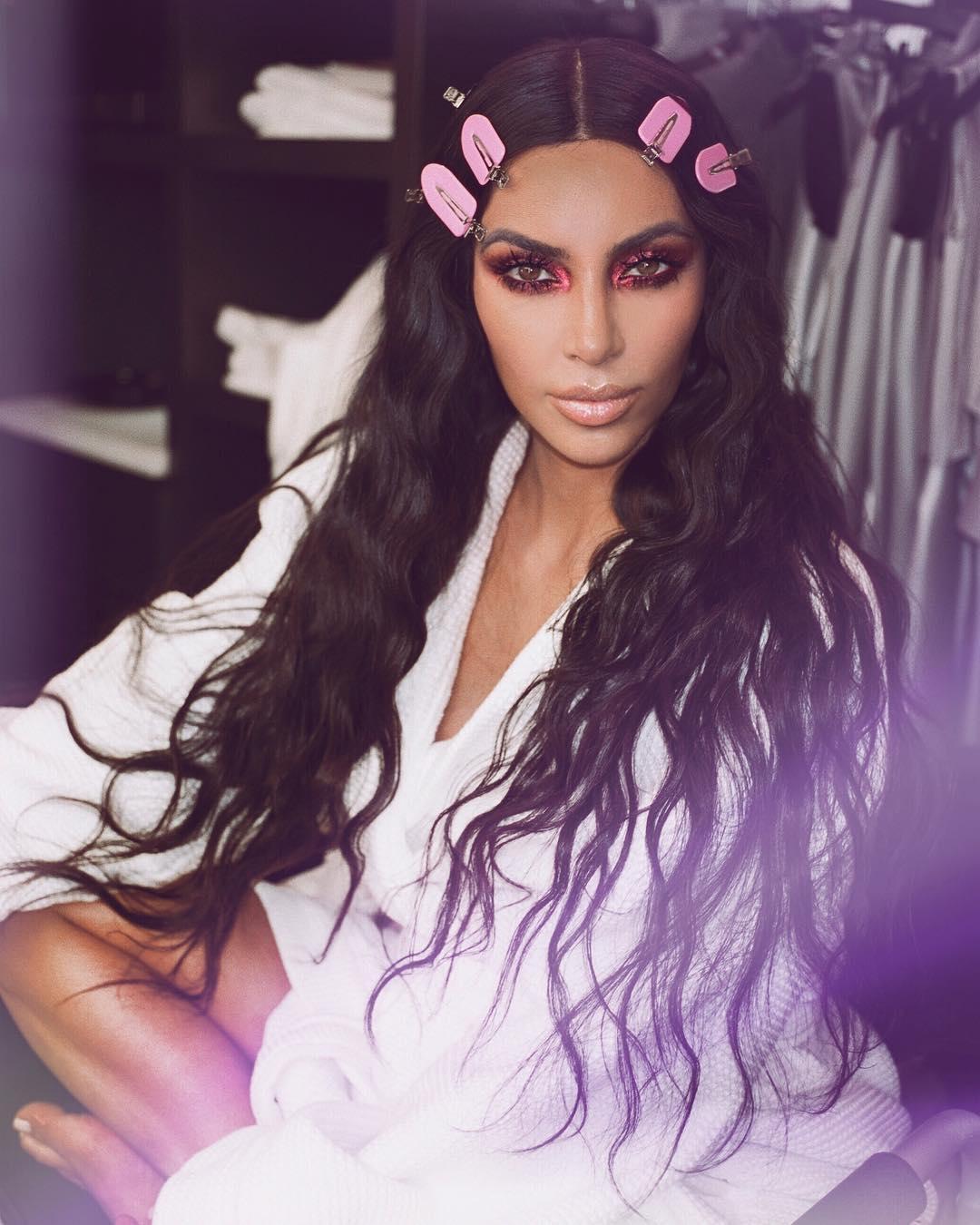 Kim Kardashian With Amazing Burgundy Freaky & Fire Eye Makeup By KKWBeauty 2019