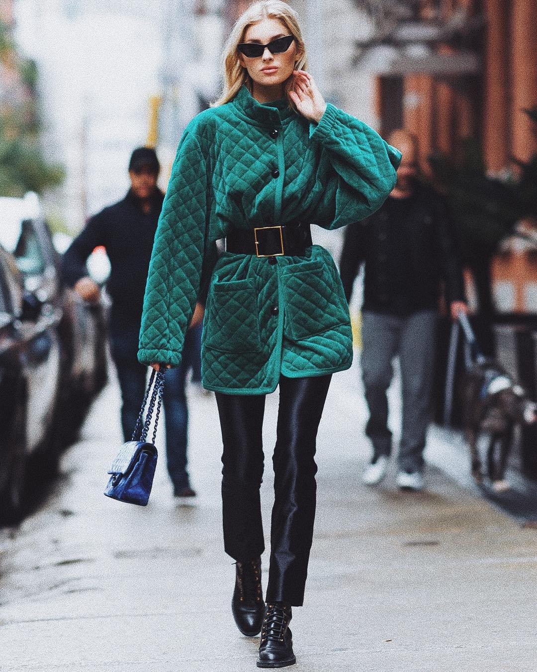 Elsa Hosk Wearing Green Velvet Quilted Coat With Shiny Black Pants 2020