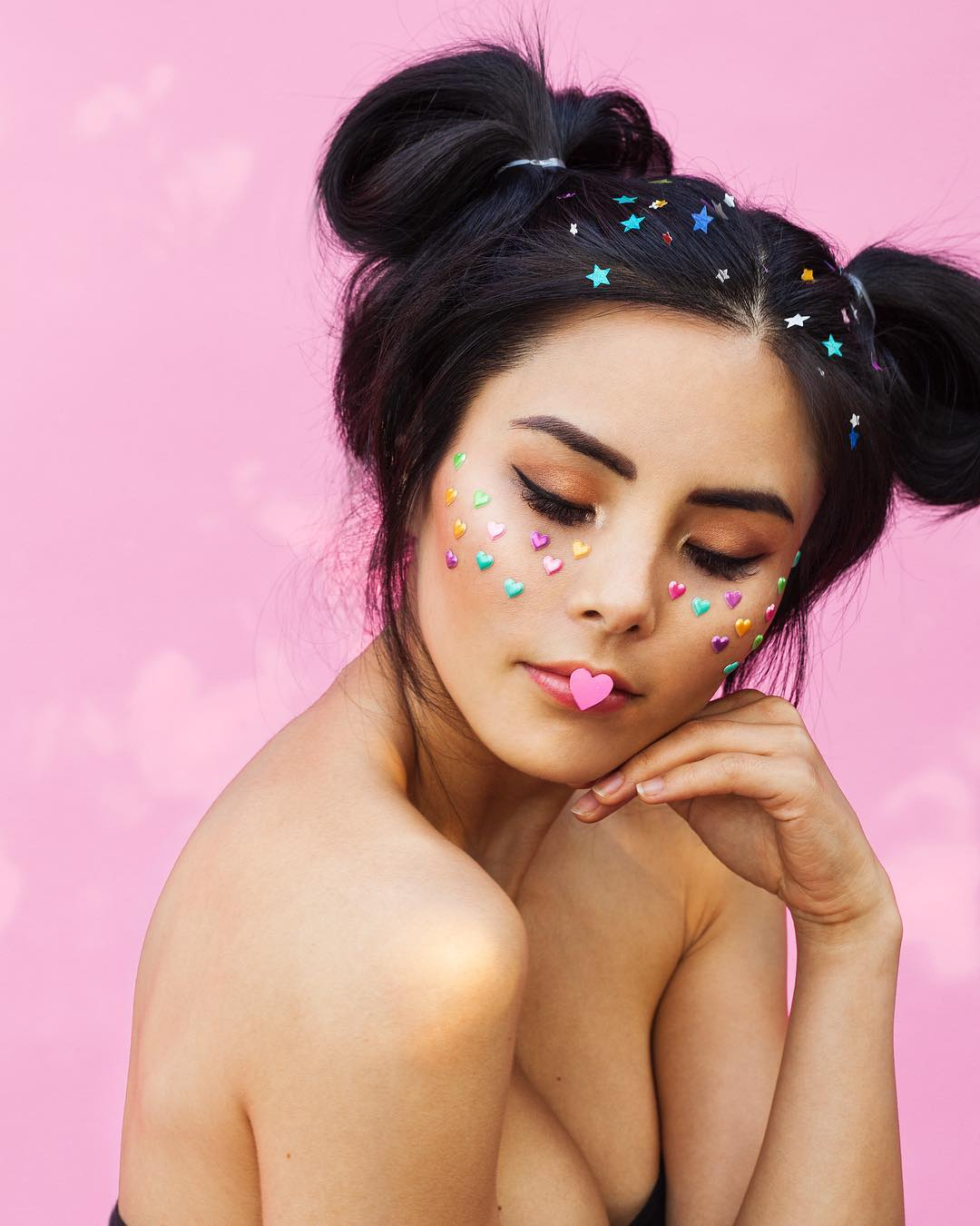 Anna Akana With Two Side Buns And Star Heart Embroidery 2019