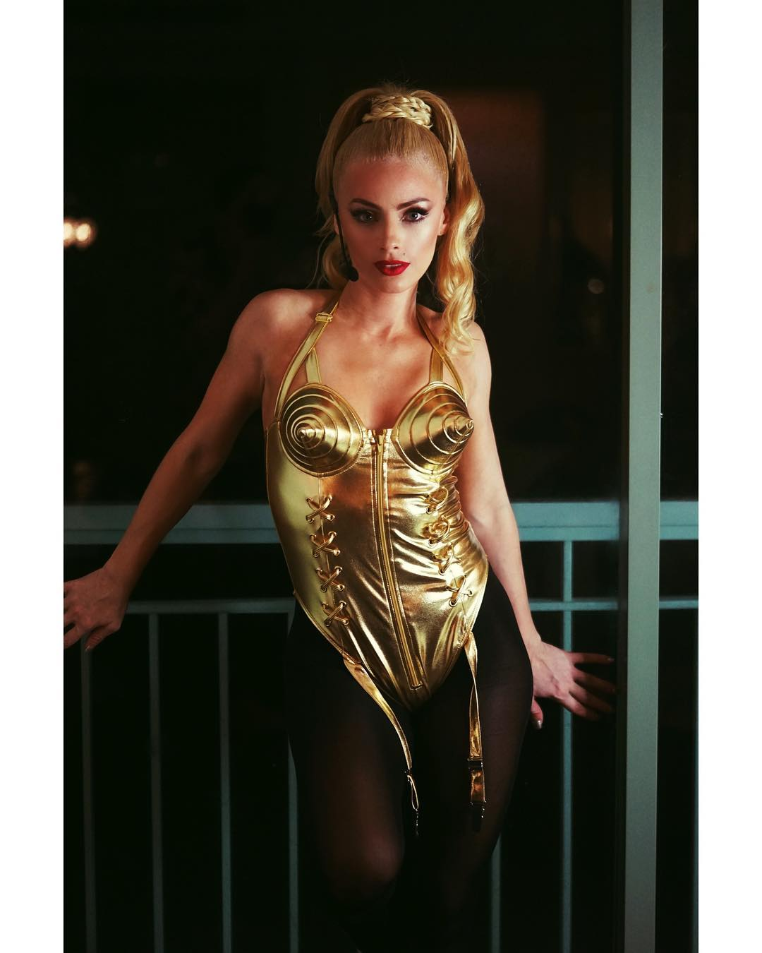 Natalia Rivera In Madonna Blonde Ambition Tour Costume At Halloween 2019