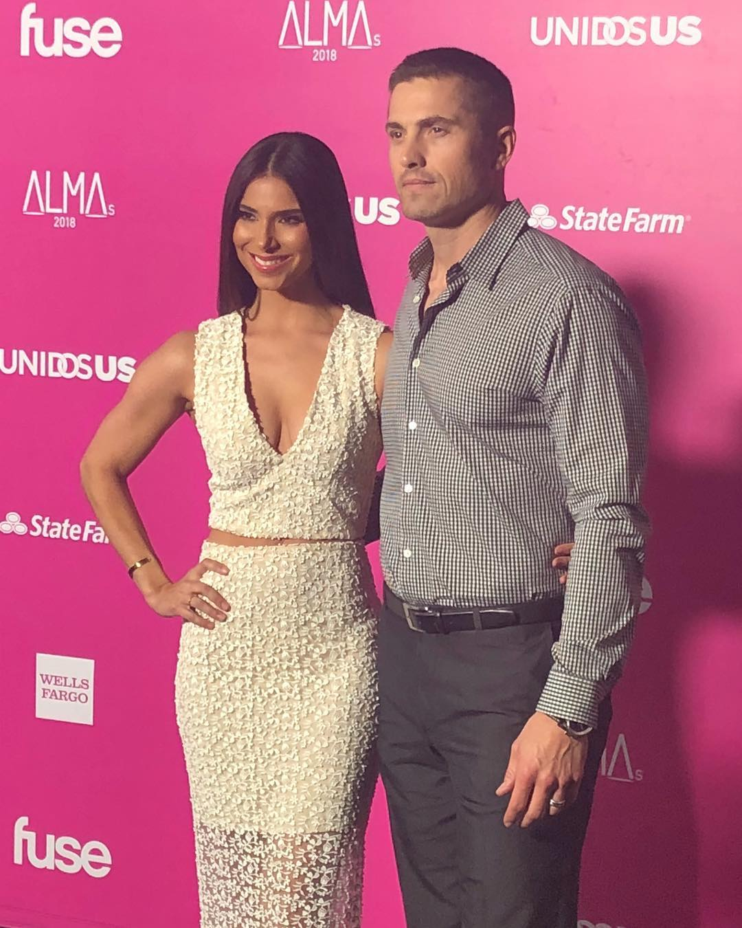 Roselyn Sanchez In White Two Piece Dress At Alma Awards 2020