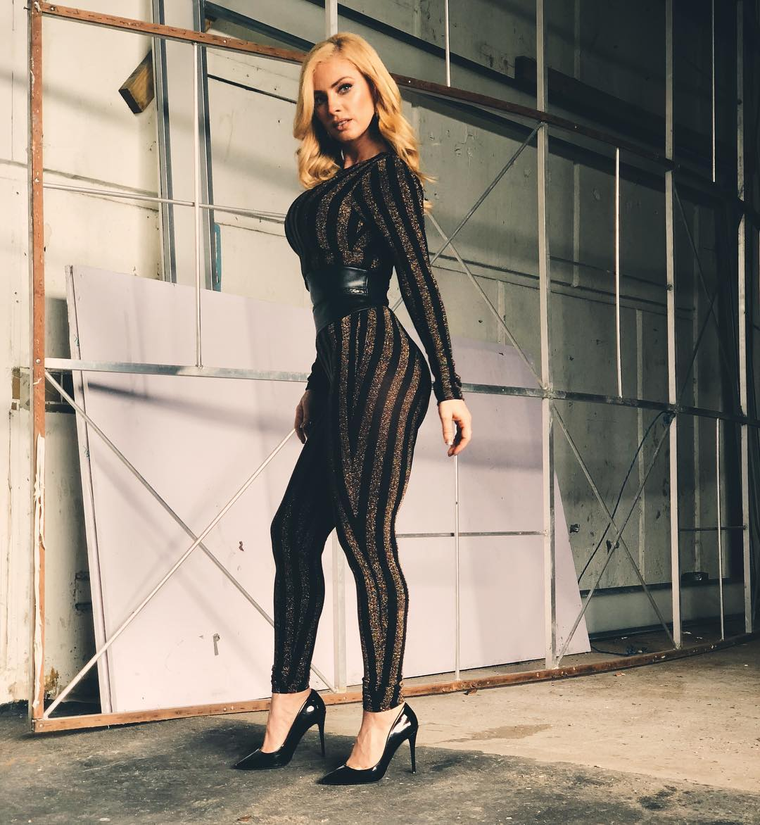 OOTD: Natalia Rivera In Striped Tight Jumpsuit 2019