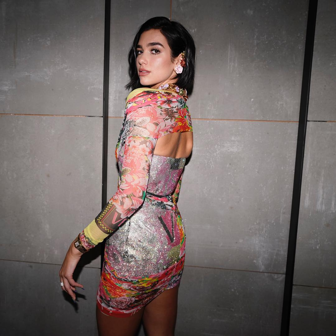 Abstract Print Tight Dress Worn By Dua Lipa 2020