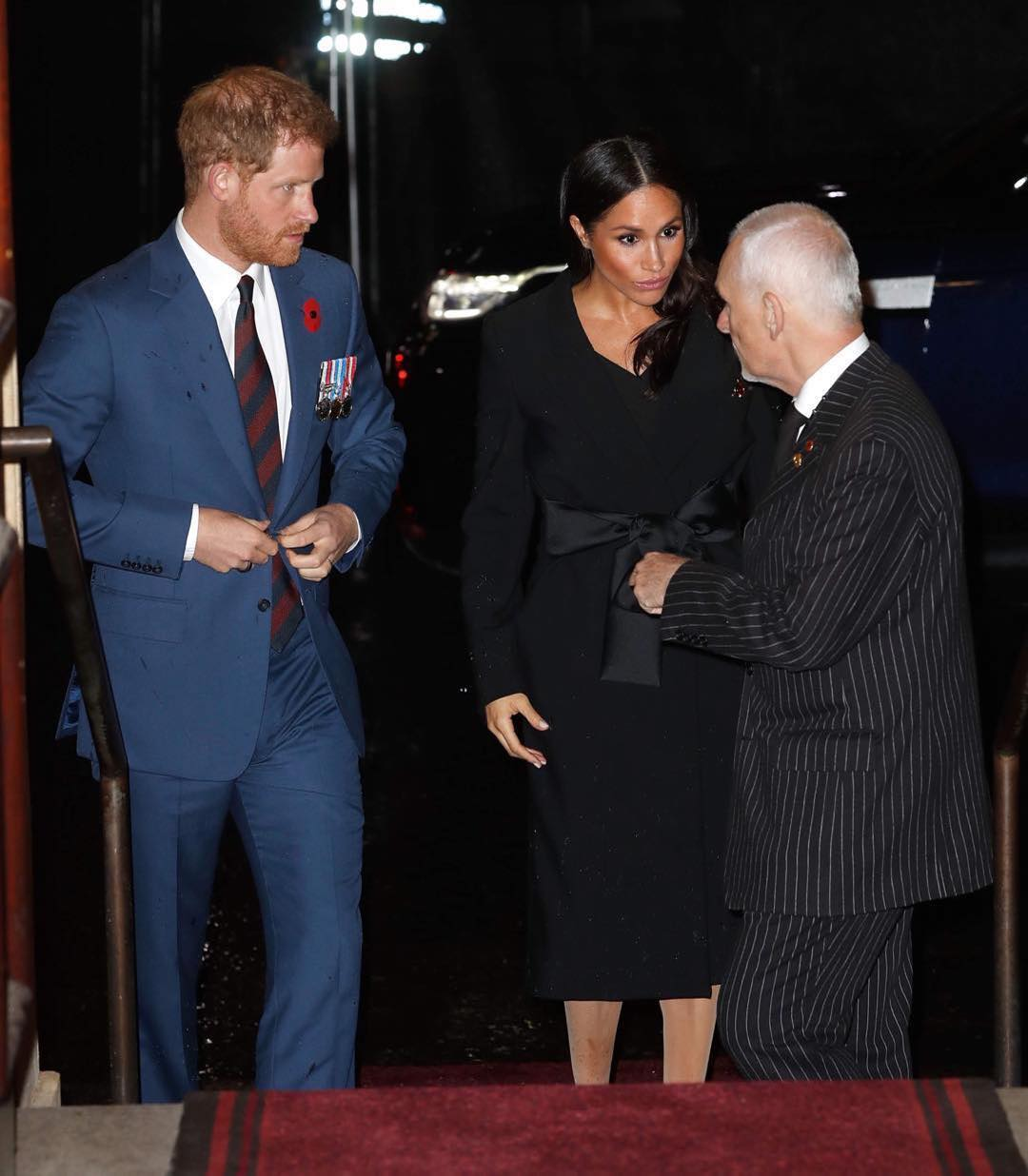 Meghan Markle Wearing Black Belted CoatDress 2019