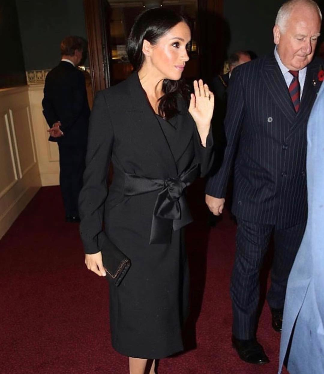Meghan Markle Wearing Black Belted Coatdress 2020