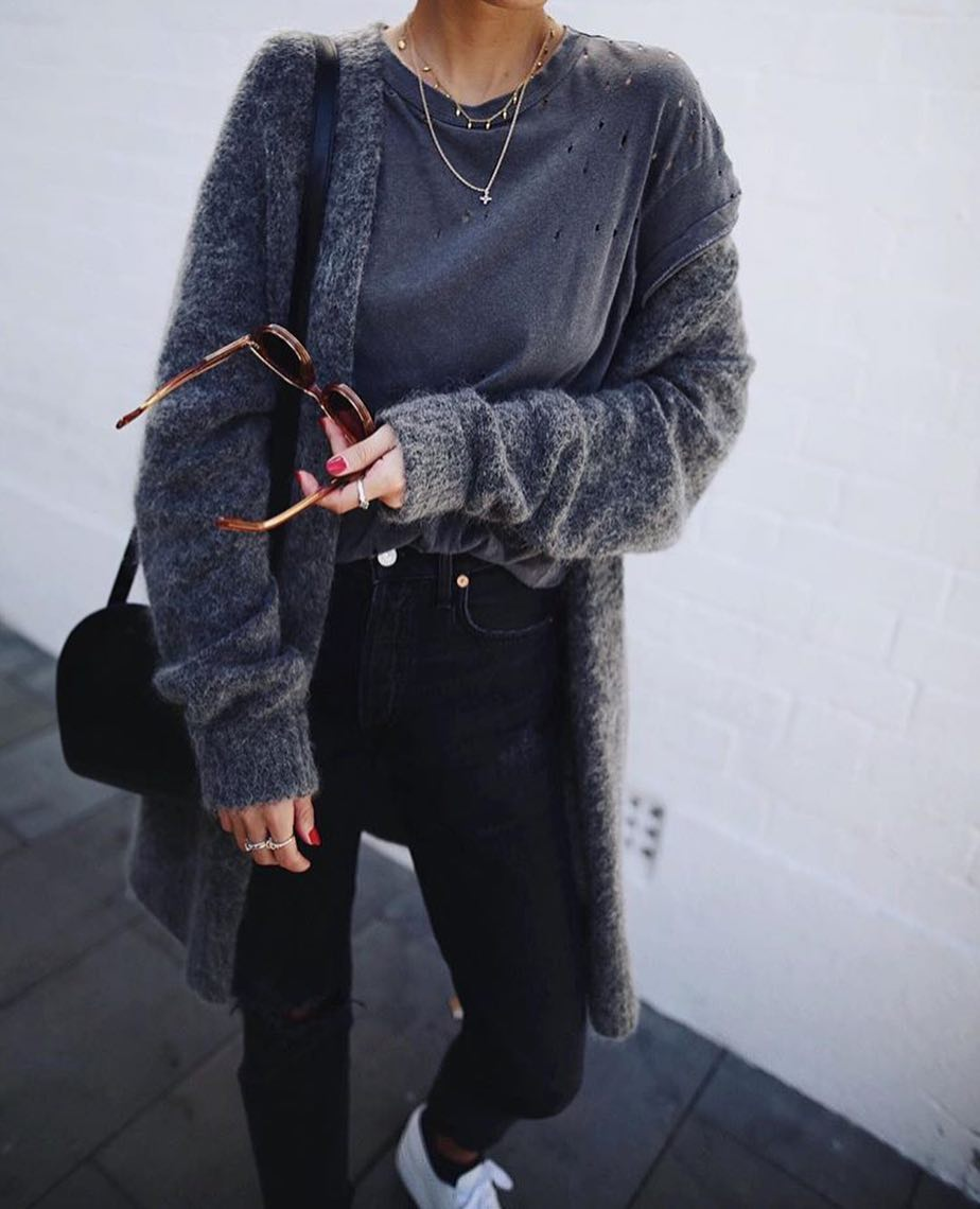OOTD: Mohair Cardigan With Black Skinnies And White Sneakers 2020