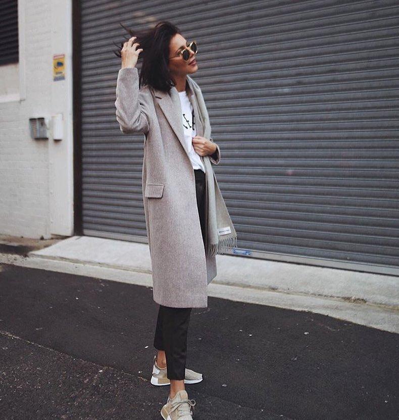 Smart-Casual Layering: Grey Coat, Black Pants And Sneakers 2021