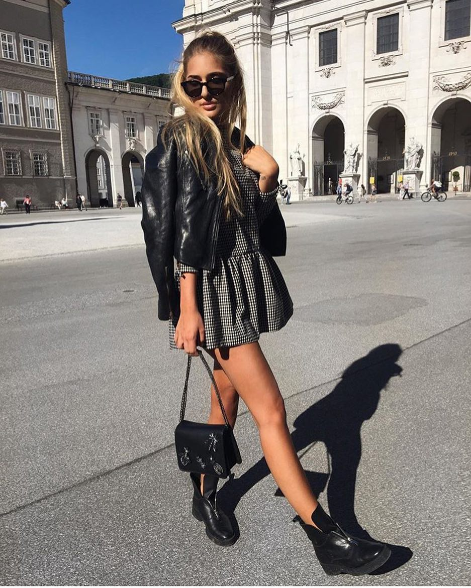 Smart Casual Outfit: Gingham Dress Under Black Leather Jacket 2019