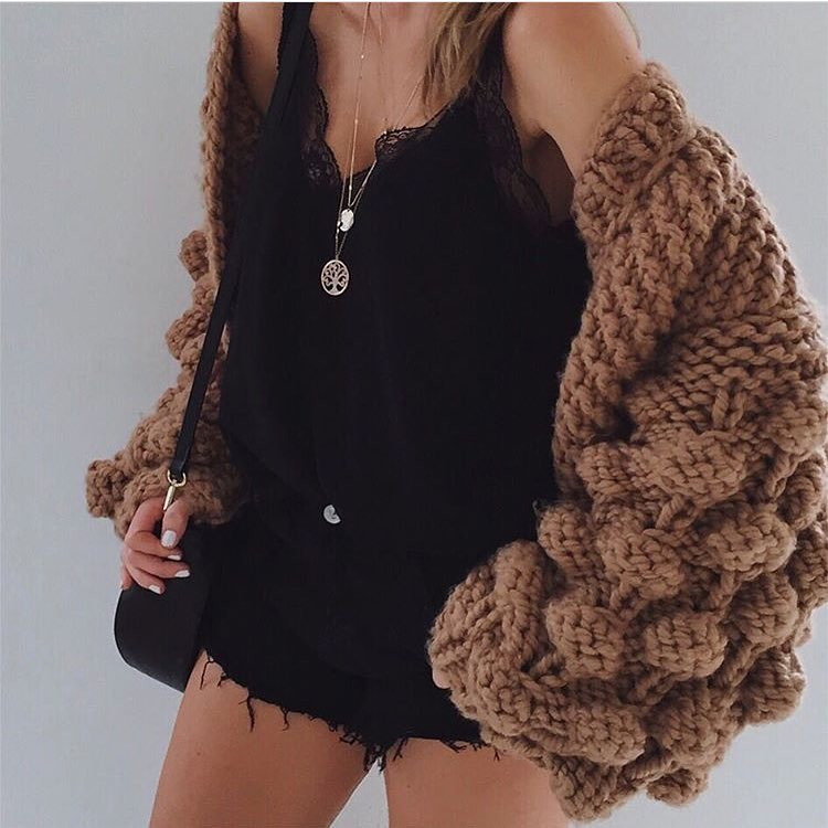 Knitwear World: Heavy Chunky Knit Cardigan Over Slip Tank Top And Cut Offs 2020
