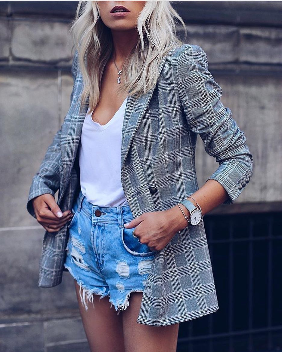 Amazing Combination: Plaid Print Blazer And Ripped Denim Cut-Offs 2020