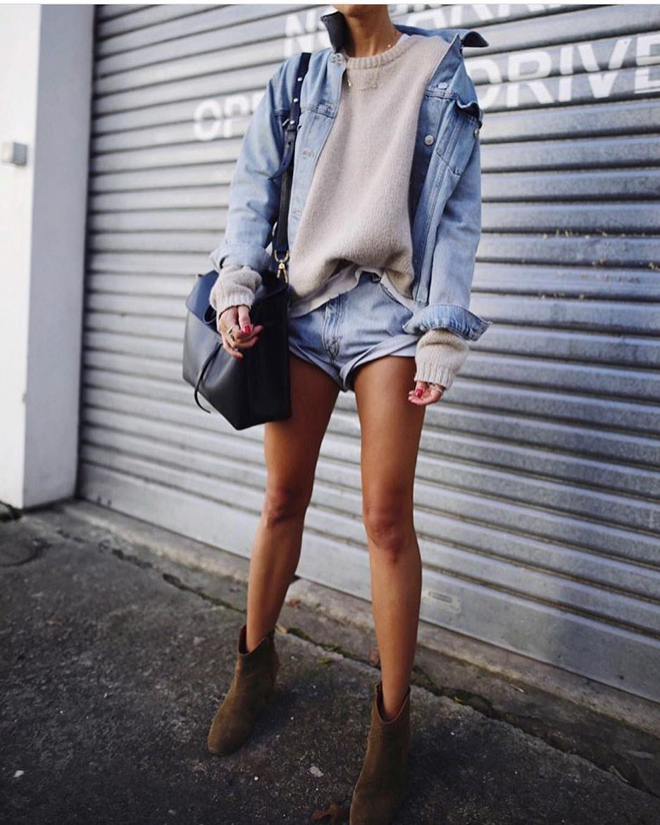 Double Denim + Sweater And Suede Ankle Boots 2020