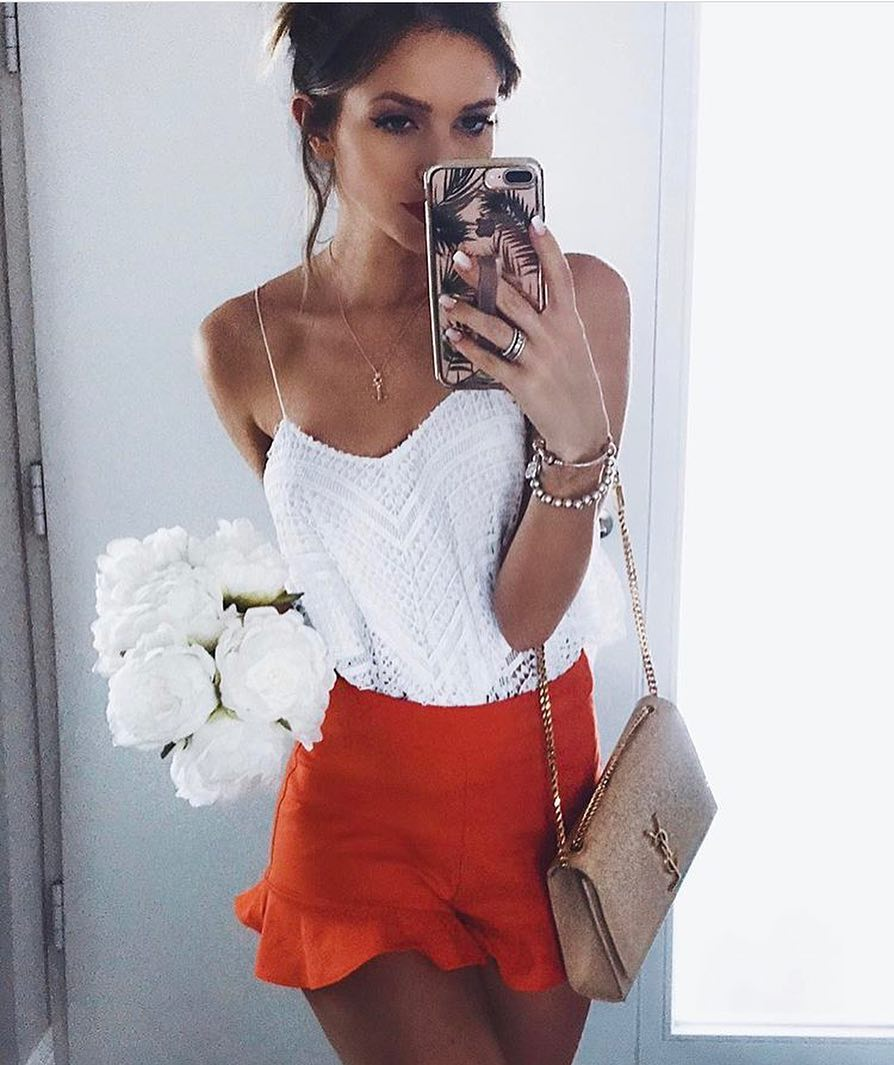 Italian Style: Crochet White Top And Orange Skirt With Peplum Hem 2019