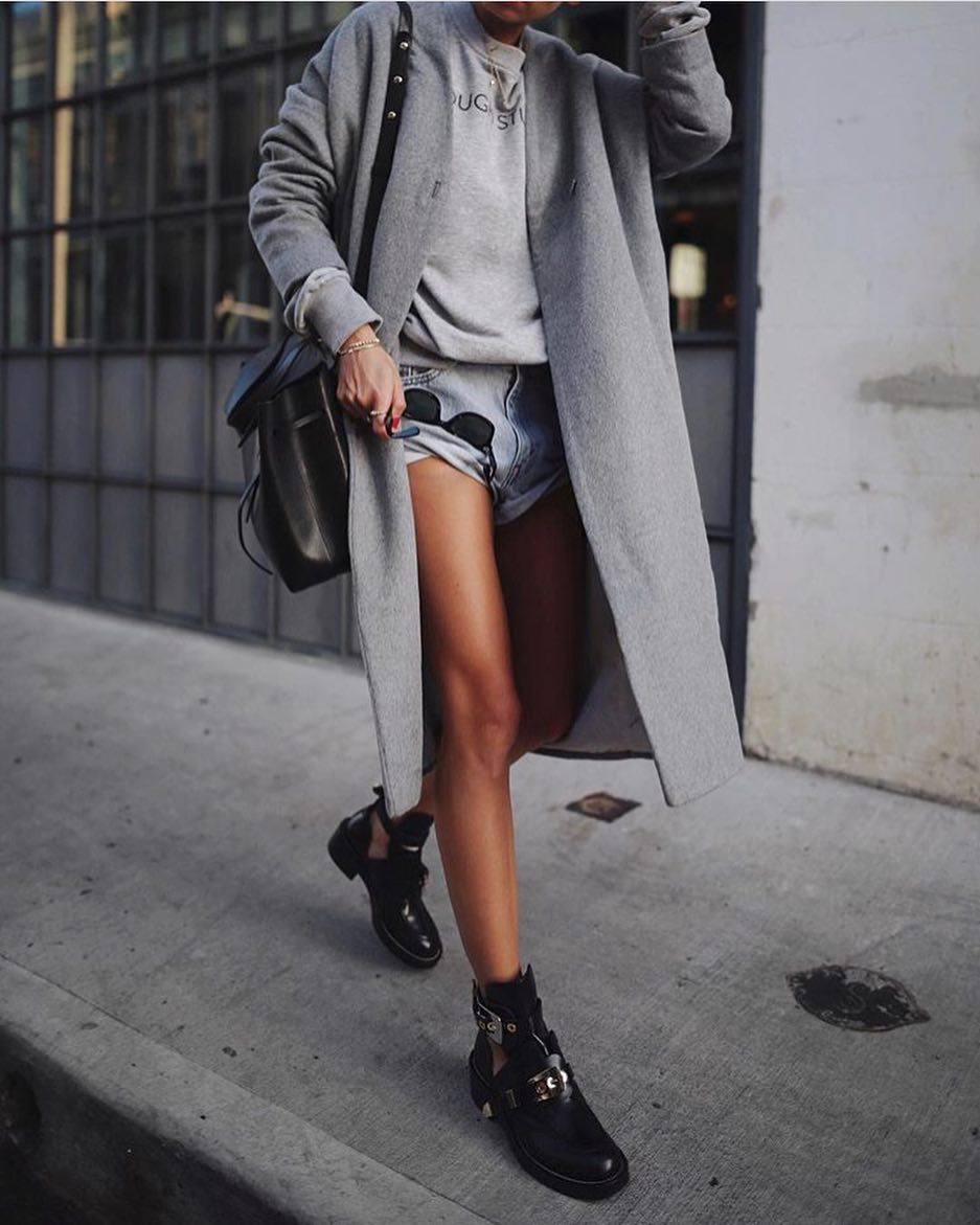 Spring Outfit: Long Grey Coat With Grey Pullover And Denim Cut-Offs 2019