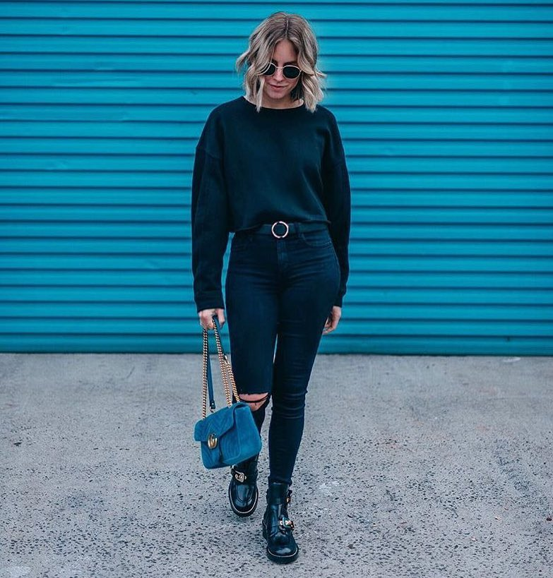 Casual Outfit In Black Color: Black Pullover, Ripped Jeans And Chunky Boots 2019