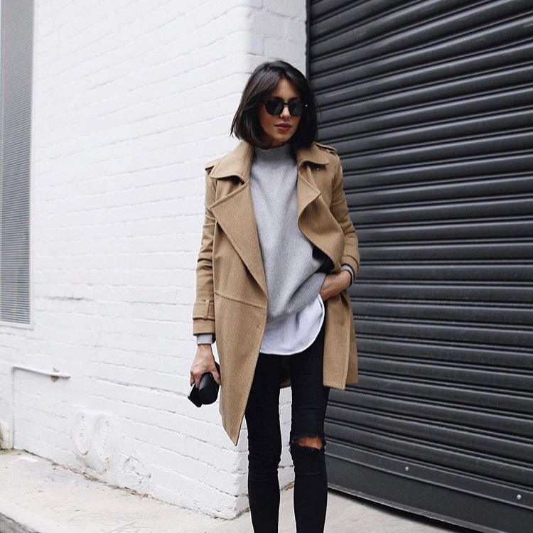 An Elegant Smart-Casual Style: Camel Coat And Ripped Jeans 2019