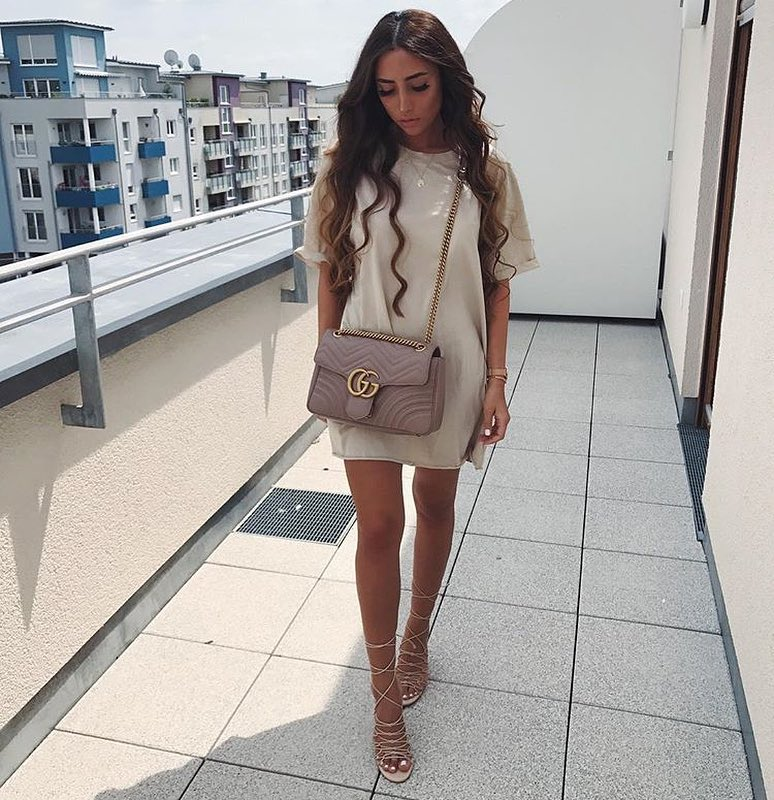 Simple Day Outfit Idea: T-Dress In Cream White And Strappy Heeled Sandals 2019