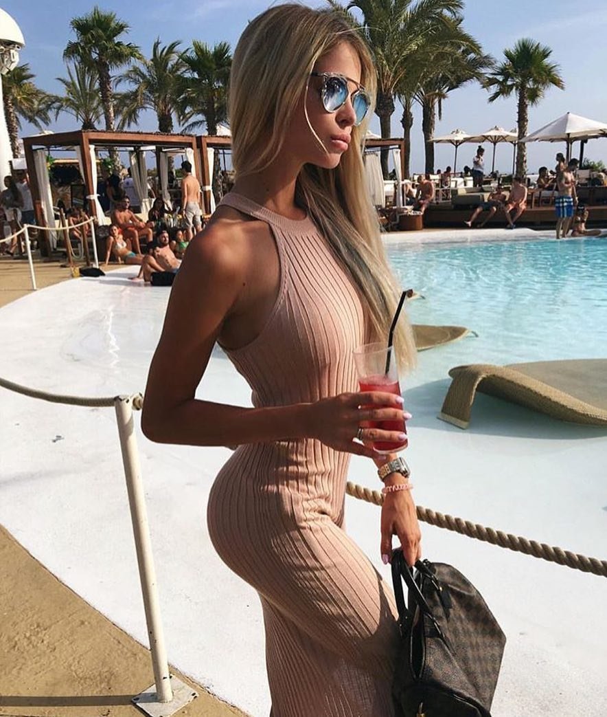 Knitted Slim Maxi Dress For Vacation In Blush Color 2021