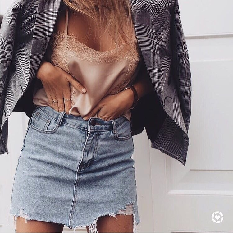 Allowed Sexiness: Plaid Blazer Over Silk Slip Tank Top Tucked In Denim Skirt 2019