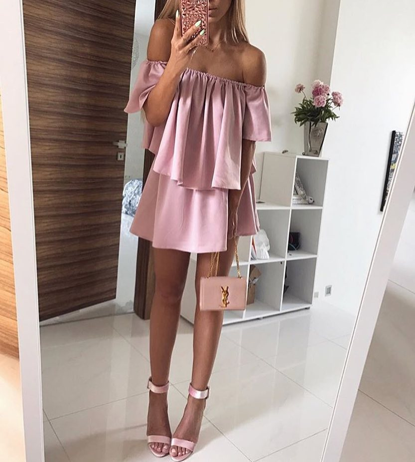 How To Look Like A Barbie Girl: Off Shoulder Pink Dress And Pink Heels 2020