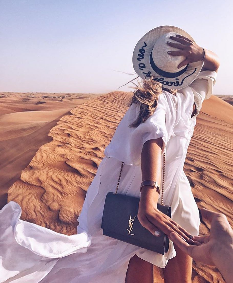 Desert Outfit Idea: White Long Shirtdress And Straw Sun Hat 2020