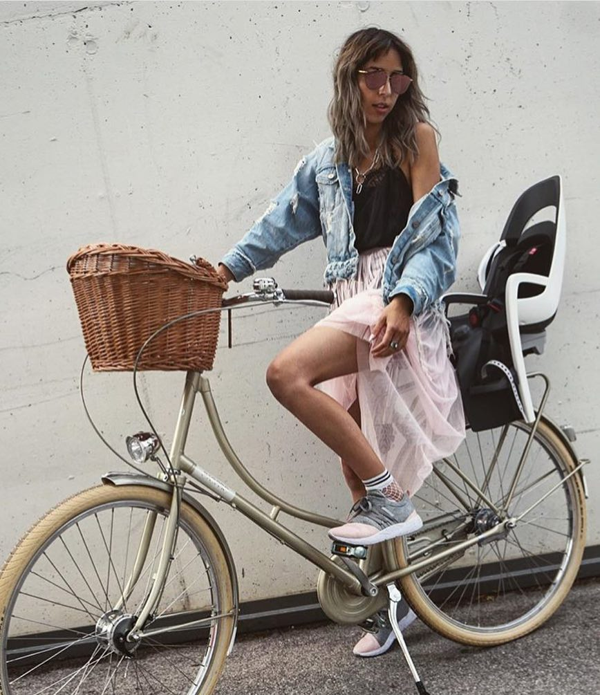 Bicycle Outfit For Summer Trips: Denim Jacket, Sliptank, Mesh Skirt And Kicks 2020