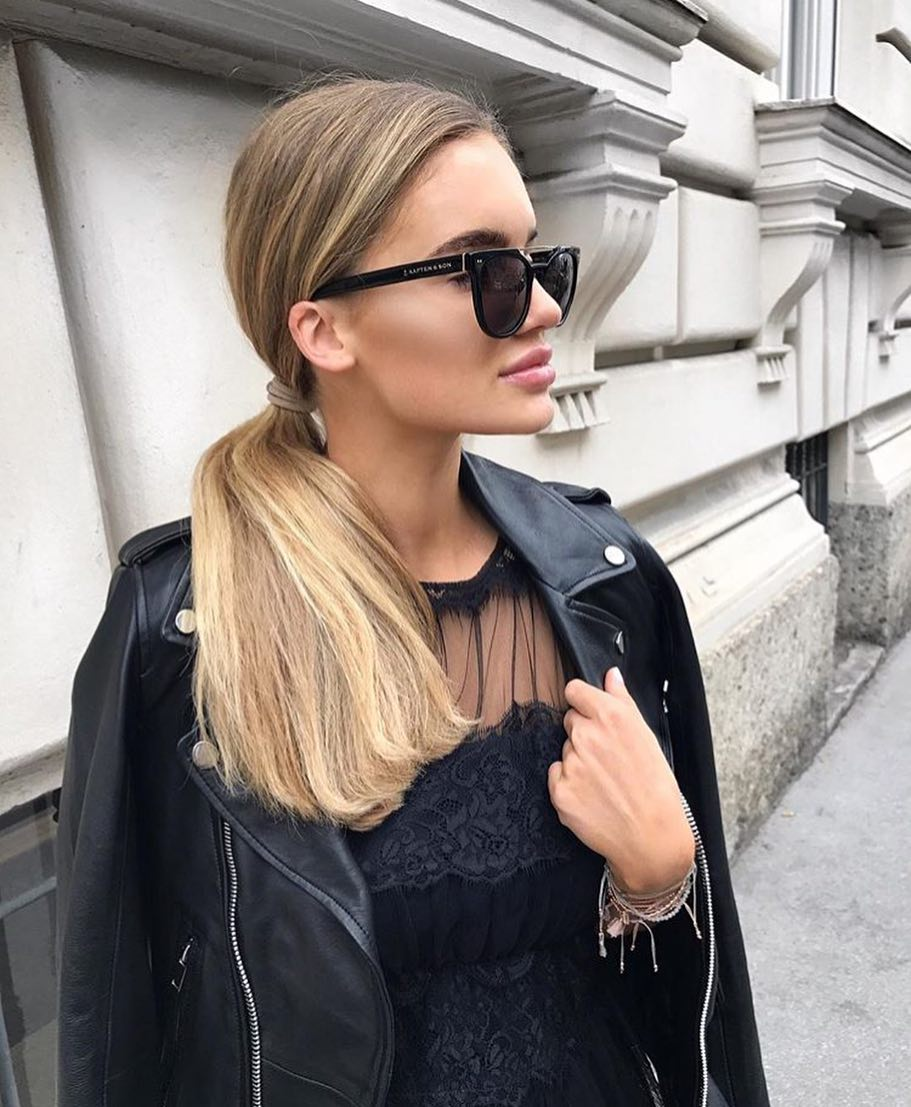What Sunglasses To Wear With Black Leather Jacket And Lace Dress 2019