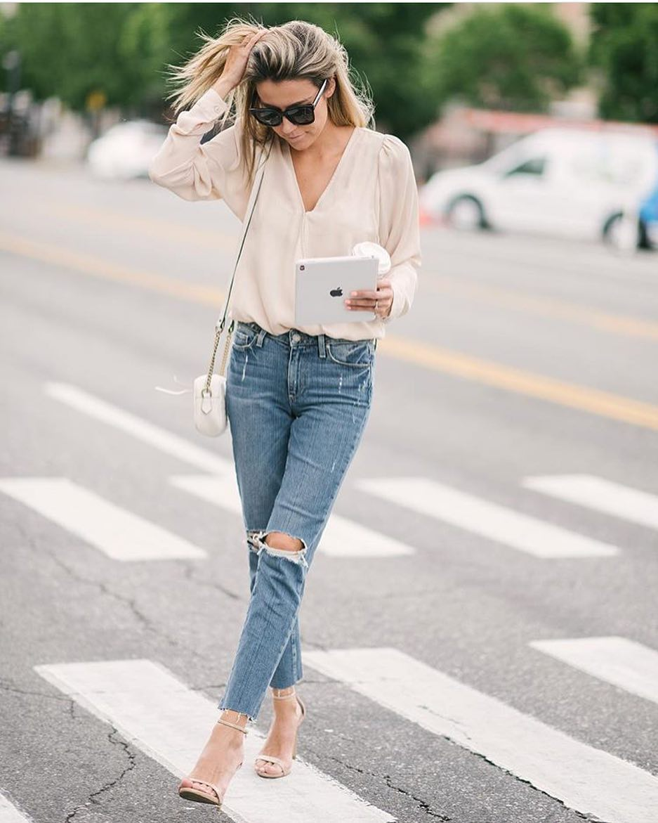 How To Wear Cream White Silk Blouse Casually 2019