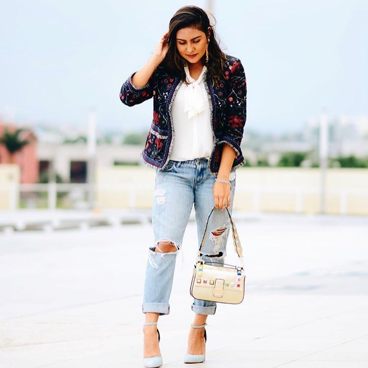 How To Wear Tweed Blazer In Floral Print 2019