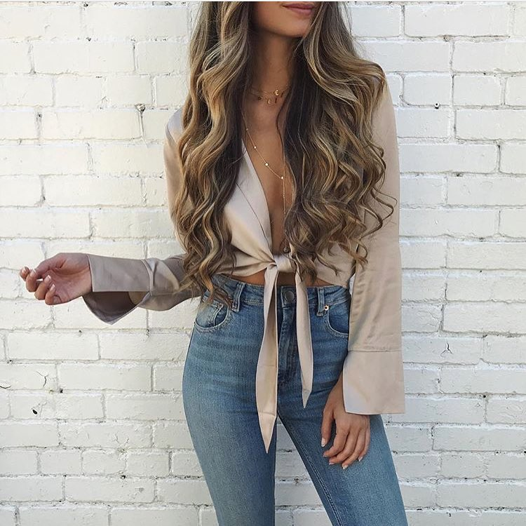 How To Make Beige Silk Front Tied Blouse Look Awesome On You 2019