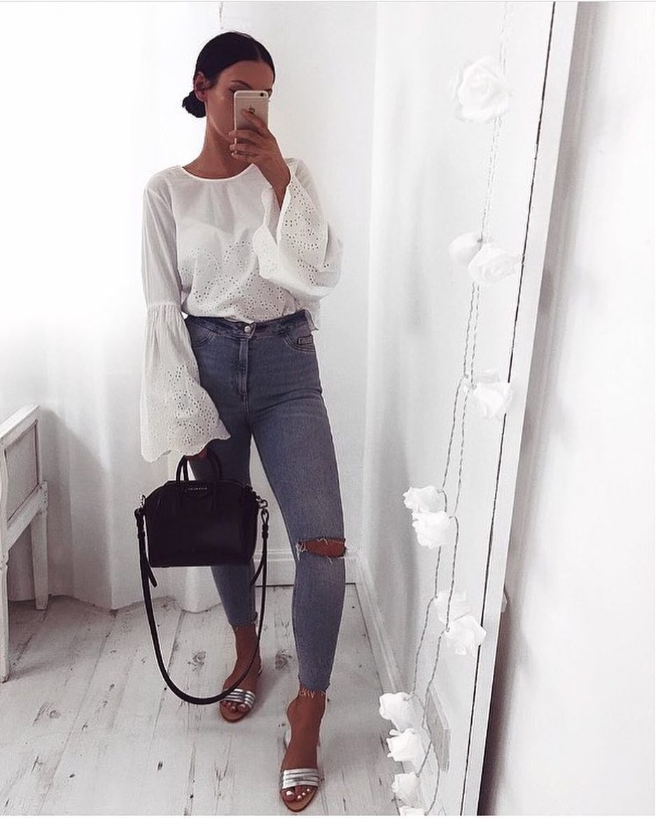 Best Casual Way To Wear White Bell Sleeve Blouse 2020