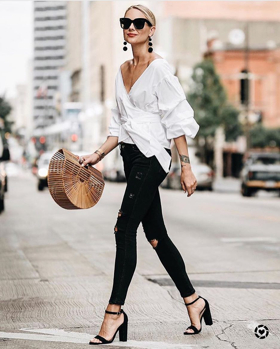 How To Wear Oversized Wrap Blouse In White Color This Summer 2019