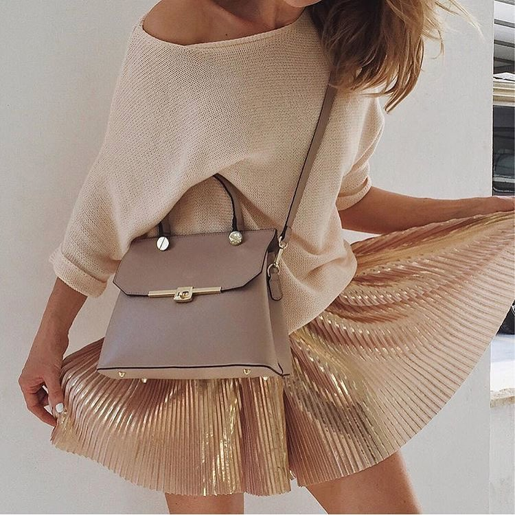 How To Wear A Gold Knife Pleated Mini Skirt 2019
