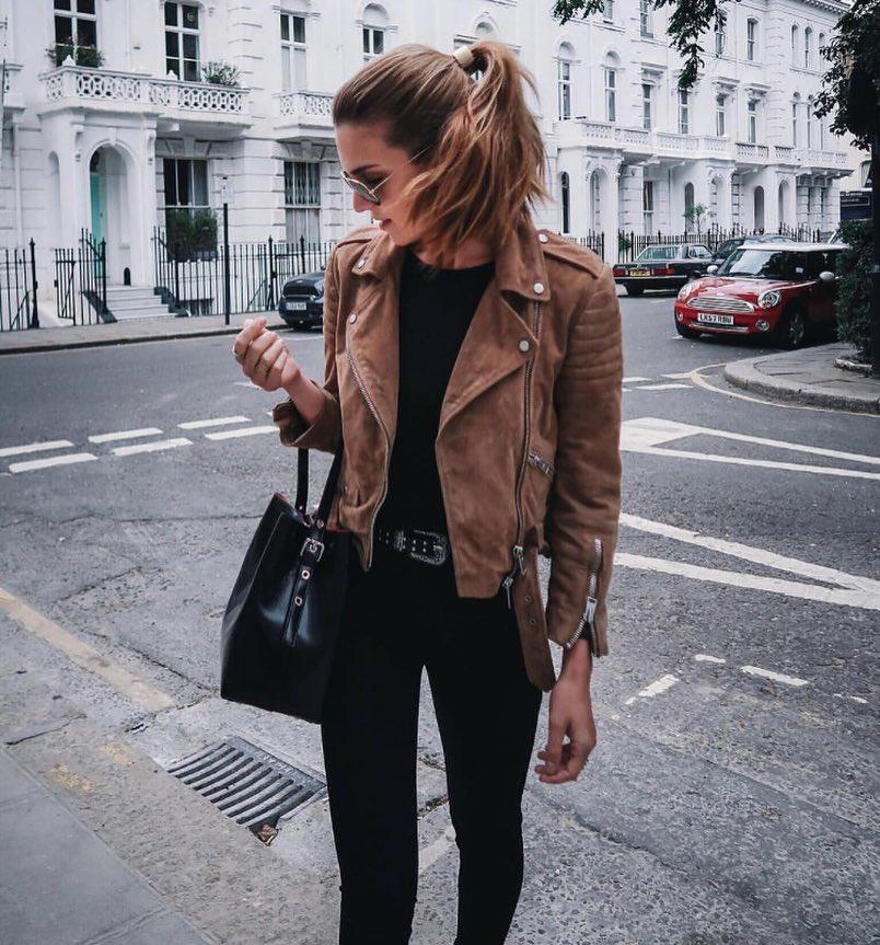 How To Wear Brown Suede Biker Jacket Over Black Separates 2019
