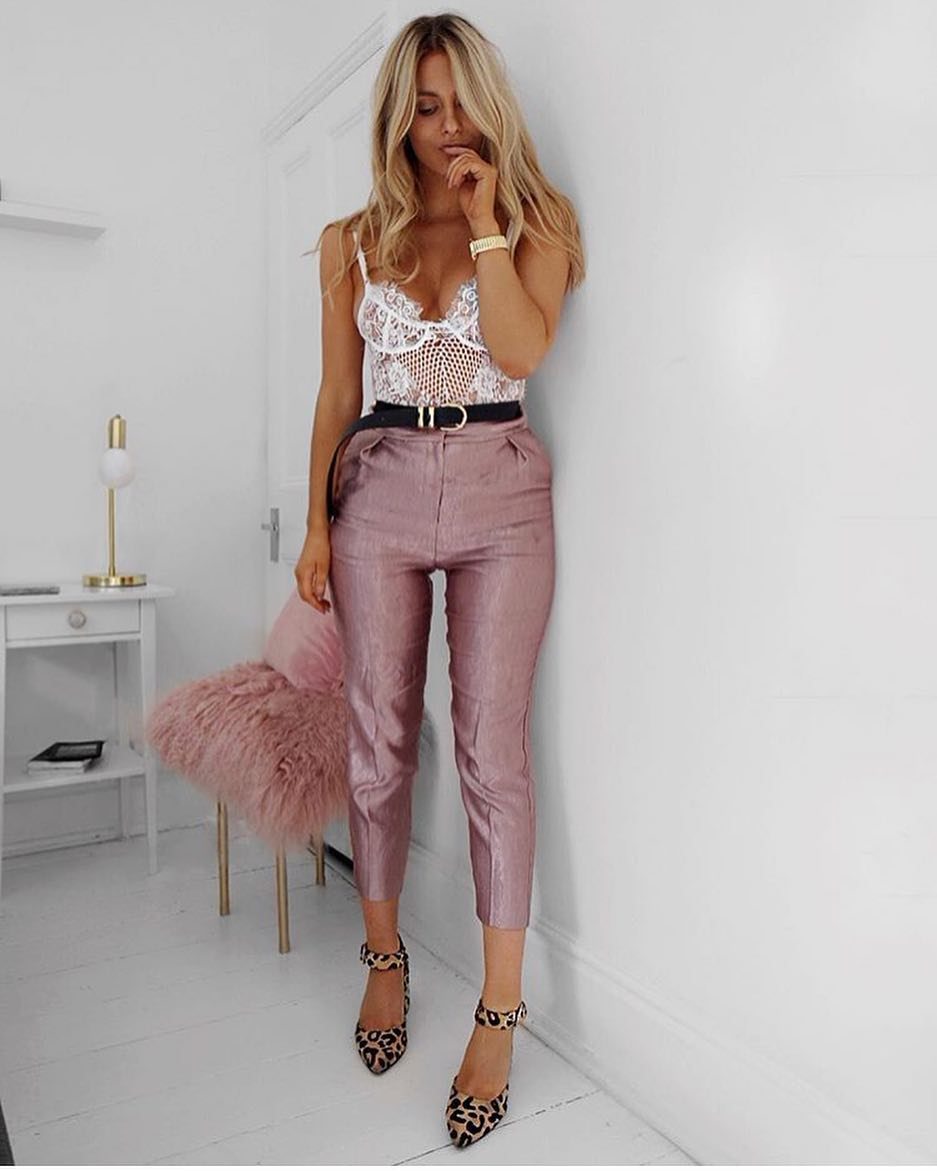 How To Wear White Lace Bodysuit With Metallic Blush Crop Trousers And Leopard Heels 2020