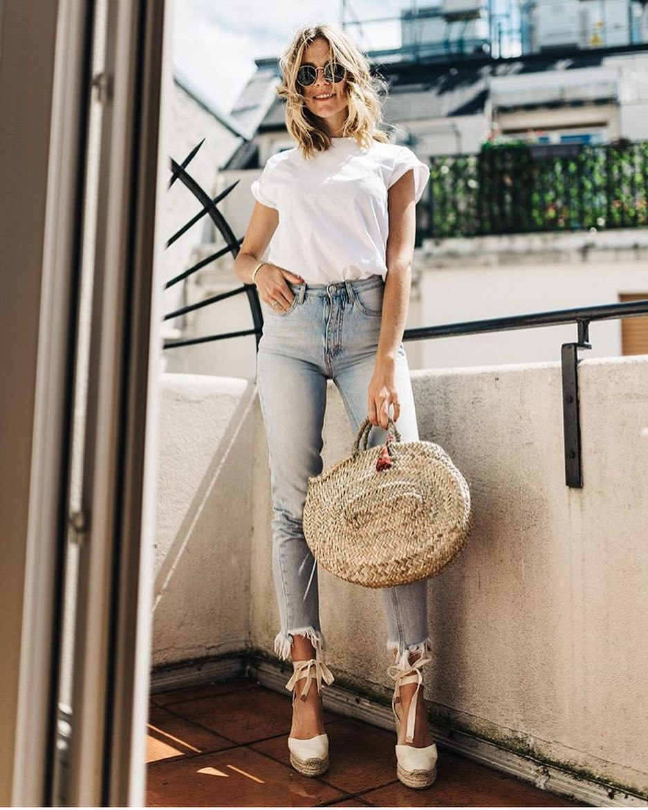 White T-Shirt, Blue Jeans And White Ankle Strap Platform Espadrilles 2020