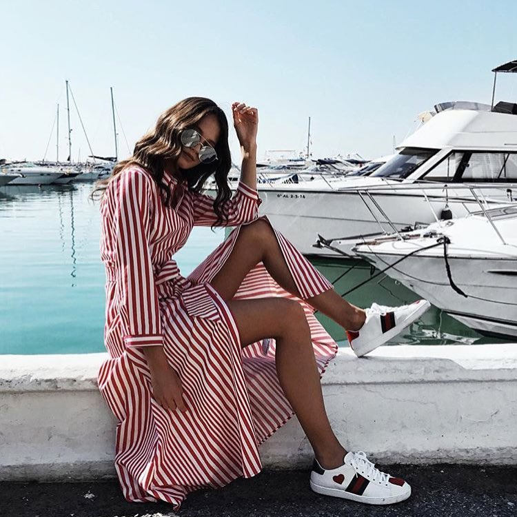 How To Wear Red-White Striped Maxi Shirtdress In Summer 2019