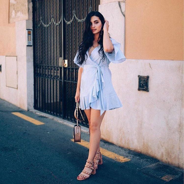 How To Wear Wrap Belted Light Blue Dress With Block Heel Studded Sandals 2019