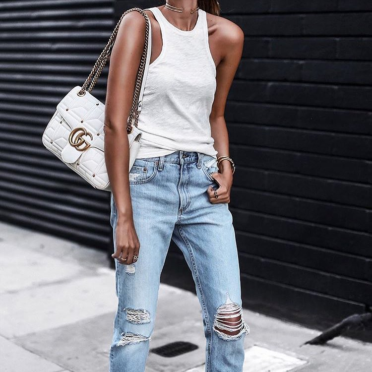 How To Wear White Tank Top With Blue Ripped Jeans 2019